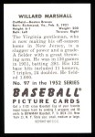 1952 Bowman REPRINT #97  Willard Marshall  Back Thumbnail
