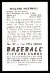 1952 Bowman REPRINT #97  Willard Marshall  Back Thumbnail