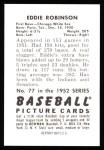 1952 Bowman REPRINT #77  Eddie Robinson  Back Thumbnail