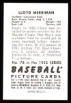 1952 Bowman REPRINT #78  Lloyd Merriman  Back Thumbnail