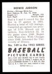 1952 Bowman Reprints #149  Howie Judson  Back Thumbnail