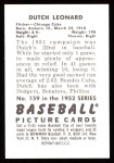 1952 Bowman REPRINT #159  Dutch Leonard  Back Thumbnail
