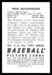 1952 Bowman REPRINT #3  Fred Hutchinson  Back Thumbnail