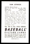 1952 Bowman REPRINT #84  Sam Jethroe  Back Thumbnail