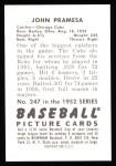 1952 Bowman REPRINT #247  John Pramesa  Back Thumbnail