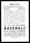 1952 Bowman REPRINT #31  Eddie Yost  Back Thumbnail
