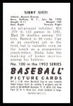1952 Bowman REPRINT #100  Sibby Sisti  Back Thumbnail