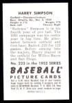 1952 Bowman REPRINT #223  Harry Simpson  Back Thumbnail