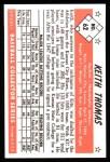 1953 Bowman B&W Reprint #62  Keith Thomas  Back Thumbnail