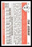 1953 Bowman B&W Reprint #61  Tom Gorman  Back Thumbnail