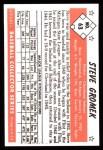 1953 Bowman B&W Reprint #63  Steve Gromek  Back Thumbnail