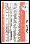 1953 Bowman B&W Reprint #24  Del Wilber  Back Thumbnail