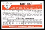 1953 Bowman REPRINT #14  Billy Loes  Back Thumbnail