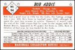 1953 Bowman REPRINT #94  Bob Addis  Back Thumbnail