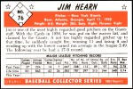 1953 Bowman REPRINT #76  Jim Hearn  Back Thumbnail