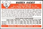 1953 Bowman REPRINT #144  Warren Hacker  Back Thumbnail
