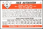 1953 Bowman REPRINT #132  Fred Hutchinson  Back Thumbnail