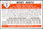 1953 Bowman REPRINT #59  Mickey Mantle  Back Thumbnail