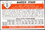 1953 Bowman REPRINT #99  Warren Spahn  Back Thumbnail