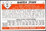 1953 Bowman REPRINT #99  Warren Spahn  Back Thumbnail