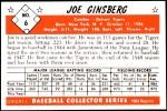 1953 Bowman REPRINT #6  Joe Ginsberg  Back Thumbnail