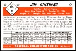 1953 Bowman REPRINT #6  Joe Ginsberg  Back Thumbnail