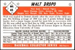 1953 Bowman REPRINT #45  Walt Dropo  Back Thumbnail