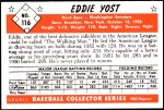 1953 Bowman Reprints #116  Eddie Yost  Back Thumbnail