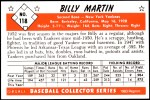 1953 Bowman REPRINT #118  Billy Martin  Back Thumbnail