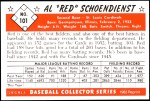 1953 Bowman REPRINT #101  Red Schoendienst  Back Thumbnail