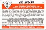 1953 Bowman REPRINT #160  Cal Abrams  Back Thumbnail