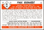 1953 Bowman REPRINT #39  Paul Richards  Back Thumbnail