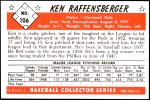 1953 Bowman REPRINT #106  Ken Raffensberger  Back Thumbnail