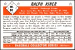 1953 Bowman Reprints #80  Ralph Kiner  Back Thumbnail