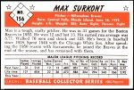 1953 Bowman REPRINT #156  Max Surkont  Back Thumbnail