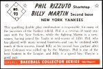 1953 Bowman Reprints #93  Billy Martin / Phil Rizzuto  Back Thumbnail