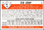 1953 Bowman REPRINT #72  Ted Gray  Back Thumbnail