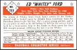 1953 Bowman REPRINT #153  Whitey Ford  Back Thumbnail