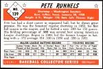 1953 Bowman Reprints #139  Pete Runnels  Back Thumbnail