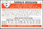 1953 Bowman REPRINT #89  Sandy Consuegra  Back Thumbnail