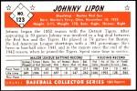 1953 Bowman Reprints #123  John Lipon  Back Thumbnail