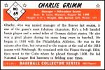 1953 Bowman REPRINT #69  Charlie Grimm  Back Thumbnail