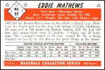 1953 Bowman REPRINT #97  Eddie Mathews  Back Thumbnail