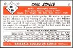 1953 Bowman REPRINT #150  Carl Scheib  Back Thumbnail