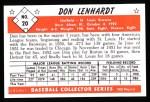 1953 Bowman Reprints #20  Don Lenhardt  Back Thumbnail