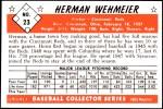 1953 Bowman REPRINT #23  Herm Wehmeier  Back Thumbnail