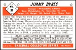 1953 Bowman REPRINT #31  Jimmy Dykes  Back Thumbnail