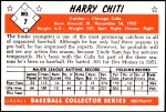 1953 Bowman REPRINT #7  Harry Chiti  Back Thumbnail