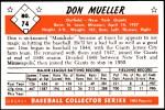 1953 Bowman REPRINT #74  Don Mueller  Back Thumbnail