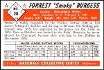 1953 Bowman REPRINT #28  Smoky Burgess  Back Thumbnail
